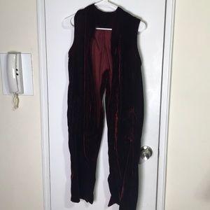 Crimson Split Seam Velvet Vest